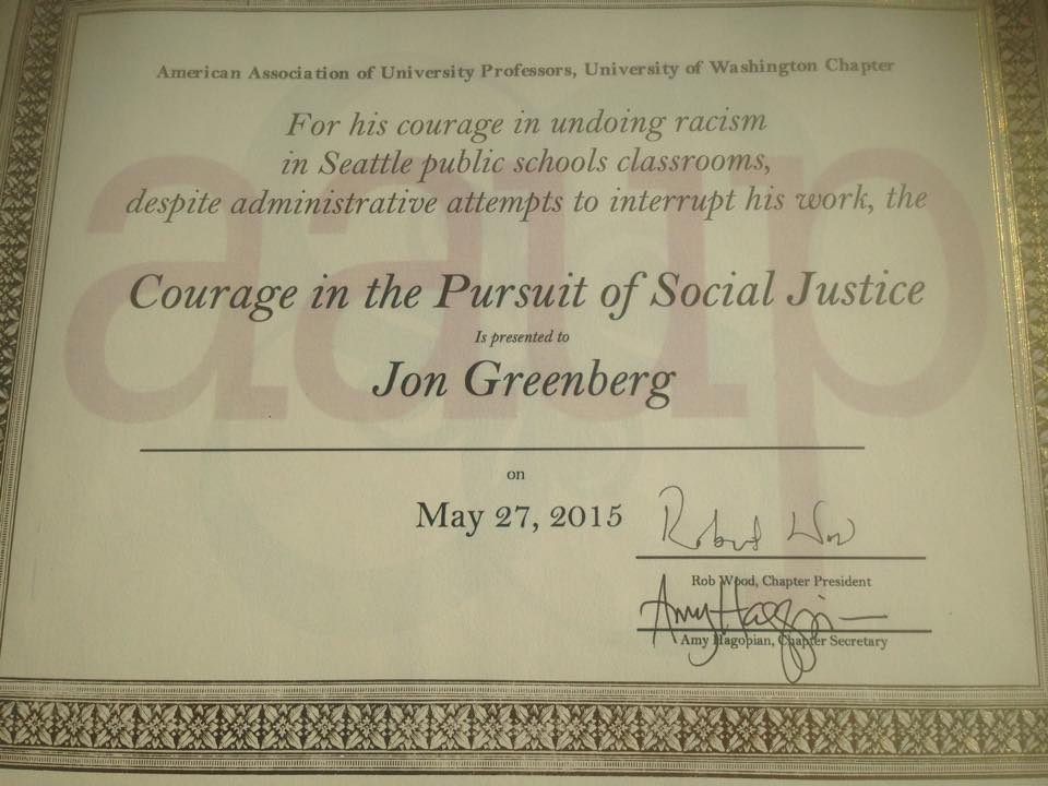 Recognition from the University of Washington's American Association of University Professors